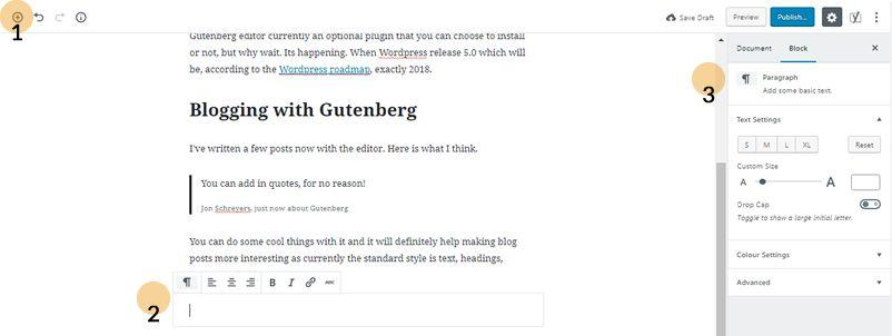 Gutenberg editor screenshot